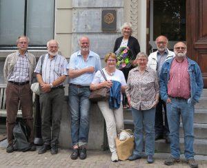 Werkgroep WZW met v.l.n.r. Luuc Christensen, Michel Kerkhoff, Edward Vos, Ank Buis, Jetty Voermans (met bloemen), Marianne van den Hoek, Michel Idsinga en Bertus Spaansen